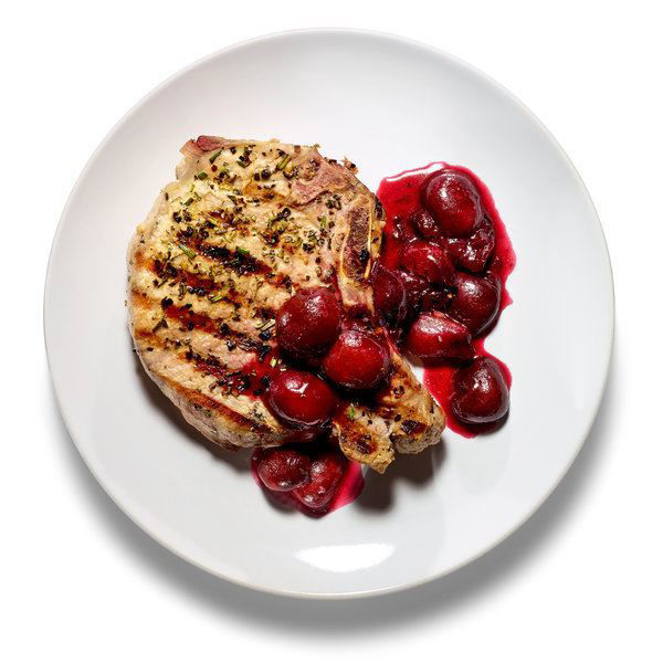 Picture of Main Course - Gilled Port Chop with Mixed Berry Sauce