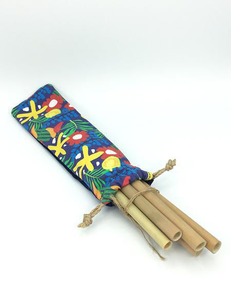 Picture of TREE Rainforest Bamboo Straw Pouch- Set of 6